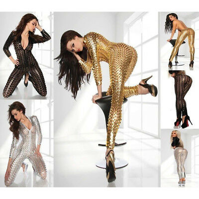Women's Halloween Cosplay Hollow Out Stretch Catsuit Party Dance Dress Clubwear