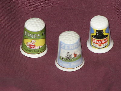 Advertising Thimbles: Jones' Sewing Machines, Zebra Grate Polish, Swan Ink