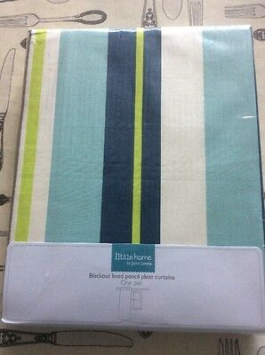 John Lewis Little Home Kids Striped Blackout Lined Curtains 117x182cm 46x72""