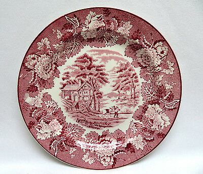 E. Woods England ENGLISH SCENERY Pink Red Transferware Plate ~ 7 3/4""