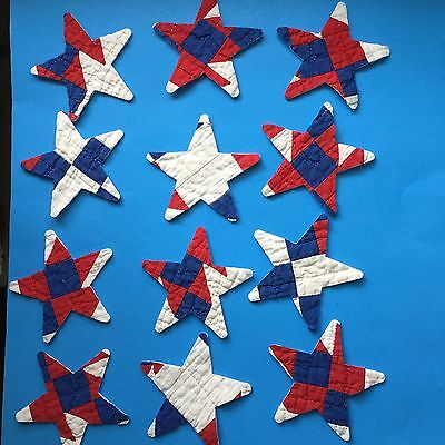 12 Star die cut outs Vintage cutter quilt Appliqué Garland Red White And Blue
