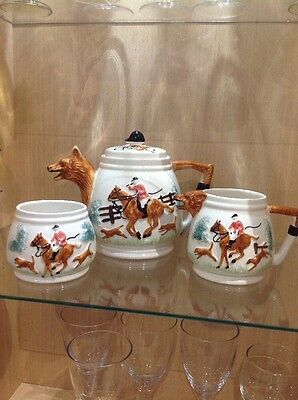 PPC  'Fox Hunting' Teapot, Milk Jug and Sugar Bowl.  Excellent Vintage Condition