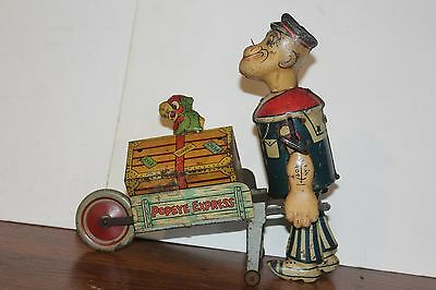 NICE VINTAGE 1930's  MARX TIN WIND-UP POPEYE EXPRESS WALKER with PARROT works!