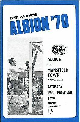 BRIGHTON & HOVE ALBION v MANSFIELD TOWN  on Sat 19th. Dec.1970 PROGRAMME.