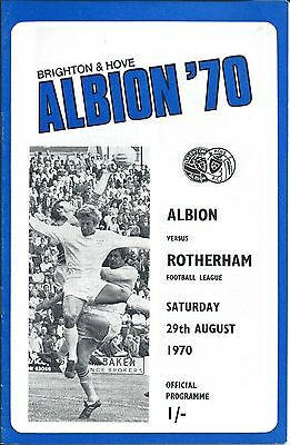 BRIGHTON & HOVE ALBION v ROTHERHAM on Sat. 29th. Aug 1970 PROGRAMME.