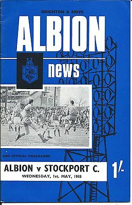 BRIGHTON & HOVE ALBION v STOCKPORT COUNTY on Wed. 1st. May 1968 PROGRAMME.