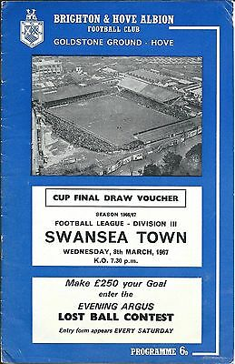 BRIGHTON & HOVE ALBION v SWANSEA TOWN on Wed. 8th March 1967 PROGRAMME.