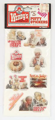 WENDYS Puffy Stickers 1984 Where's the Beef? Sealed Vintage