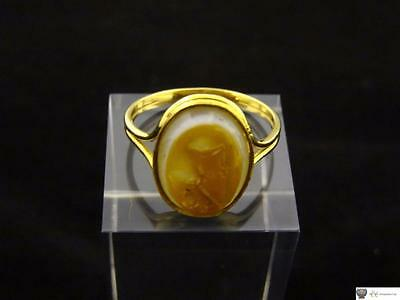 Antique Agate Intaglio Dog Ring, Gold Signet Ring, Late 18th/Early 19th Century