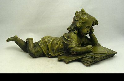 Wonderful Terracotta or Terre Cuite Sculpture of a Girl with Book