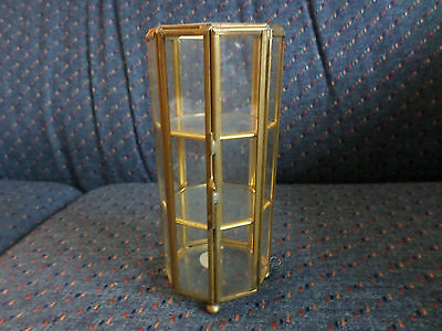 "HTF Vintage Small 6"" Octagon 8 Side Display Glass Brass Miniature Curio Cabinet"