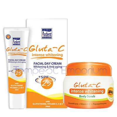 Gluta C Intense Whitening Body Scrub 120g & Facial Day Cream 30ml SPF 25 Set
