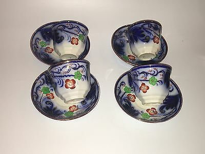 Staffordshire Gaudy Welsh Ironstone Red Green Flower Cup Saucer 4 Available 1840
