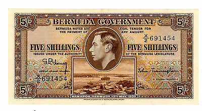 Bermuda … P-8b … 5 Shillings … ND(1937) … *XF++*