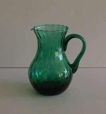 Collectible~Green~Mold Blown Glass~Small Handled Pitcher