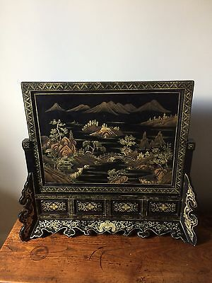 Antique Japanese Chinese Black Lacquer Painted Table Screen Mountains Water