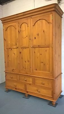 Large Freestanding Solid Pine Triple Wardrobe With 5 Drawers