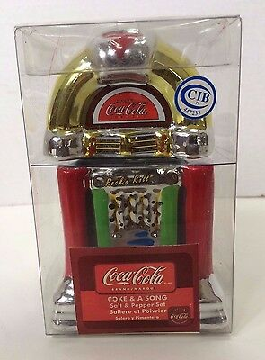 """Coca Cola Collectibles Salt and Pepper Shakers set """"Coke & A Song"""" Jukebox 4"""""""