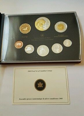 Canada 2008  Proof Set 8 Coins Royal Canadian Mint Silver