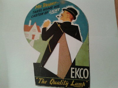 Vintage EKCO Radio Shop counter sign Mr Bright Quality Lamp 100% original card