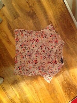 Girls New Look Sheer Cropped Blouse Sz 12/13 Yrs