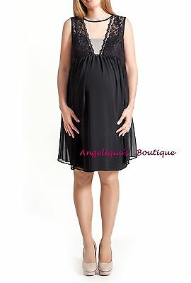 Rock-A-Bye Rosie Maternity Crystal Black/nude Mesh Lace Xmas Dress Size 8 New