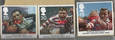 Three GB Stamps 1995 Centenary of Rugby League