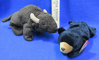 Ty Beanie Babies Stuffed Animal Blackie Bear Roam Buffalo Lot Of 2