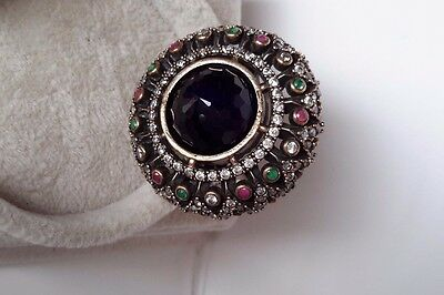 925 Silver Handcraft Jewelry Sublime Cabochon Dark Blue Sapphire Lady Ring Sz 9
