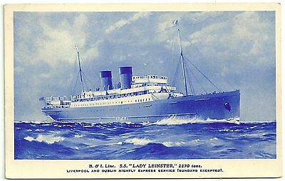 Shipping postcard B&I Line SS Lady Leinster