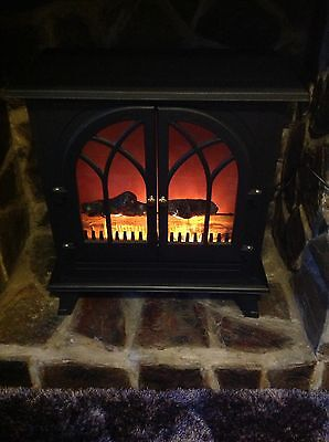 Dunelm Electric Wood Burner Stove Fire Large Fireplace Heater 2000 Watts