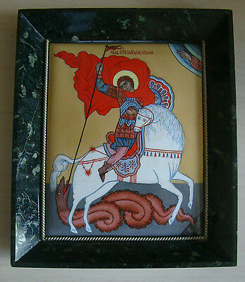 Russian decorative tile picture-St George & the Dragon-green/black stone frame