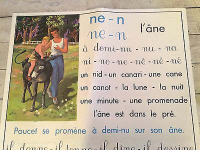 "Double sided French School Vintage Poster, ""un Âne "", ""un Noeud"""
