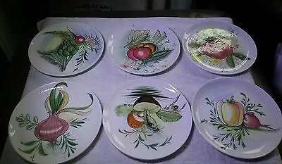 Mancioli of Italy hand painted  pottery six side plates