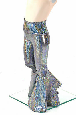Kids 2T Sparkly Silver Holographic Bell Bottom Flare Disco Pants Ready to Ship!