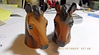 """Vintage ceramic horses' heads salt and pepper shakers, Made In Japan 3"""" tall"""
