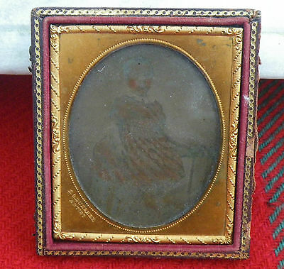 Antique Ambrotype Photograph Of A Young Girl~E.s Dunshee~Gilt/leather Frame