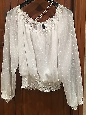 H&M White Blouse Top Size 10 Cropped