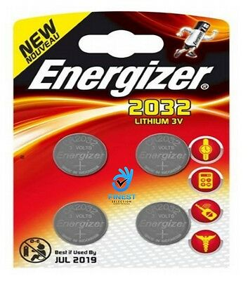 4x Energizer CR2032 3V Lithium Coin Cell Battery 2032, DL2032, BR2032, SB-T15