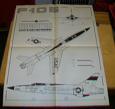 Republic F-105 Thunderchief Mach 2 Fighter/bomber Three View Drawing Poster