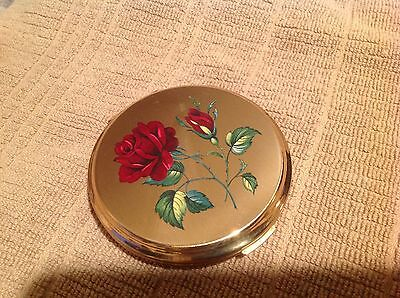 Vintage English Stratton Rose Floral Gold Compact w/ Cloth Case