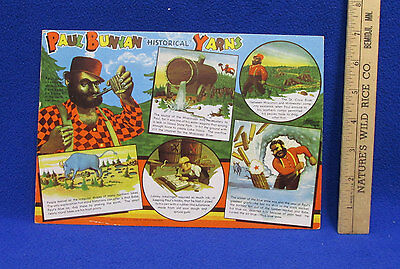 Paul Bunyan & Babe Blue Ox Giant Postcard 5 Stories Vintage Historical Yarns