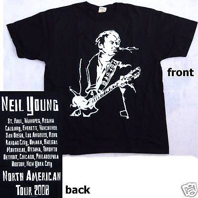 Neil Young Live Silhouette Tour 2008 Blk T-Shirt 2X New