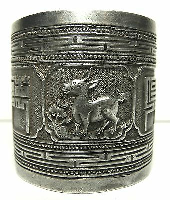 Chinese Export Silver Napkin Ring Donkey Floral Character Hallmarked Sterling