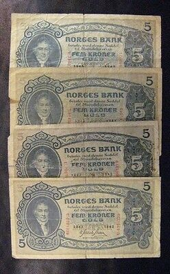 Norway Bank Notes, Total 4 Notes, 5 Krone Circ's, 1942-43**FREE U.S. SHIPPING **