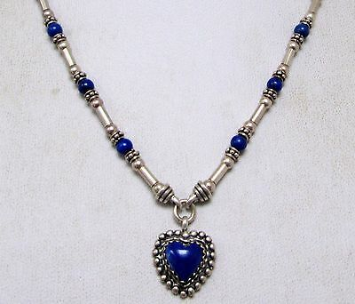 Fine quality vintage sterling silver & lapis bead heart pendant necklace