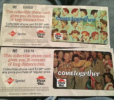 """(2) Pizza Hut """"Come Together"""" Phone Cards"""