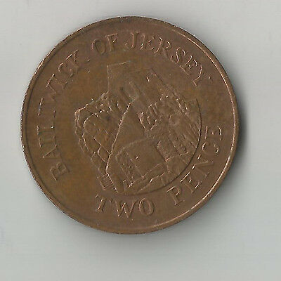 RARE BAILIWICK of JERSEY 2p 1990 TWO PENCE COIN.