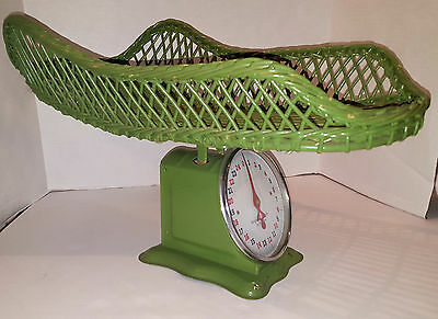 VINTAGE Hospital BABY SCALE with GREEN WICKER BASKET TRAY Decor
