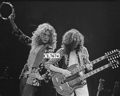 Robert Plant and Jimmy Page of Led Zeppelin Perform on a Concert Photo